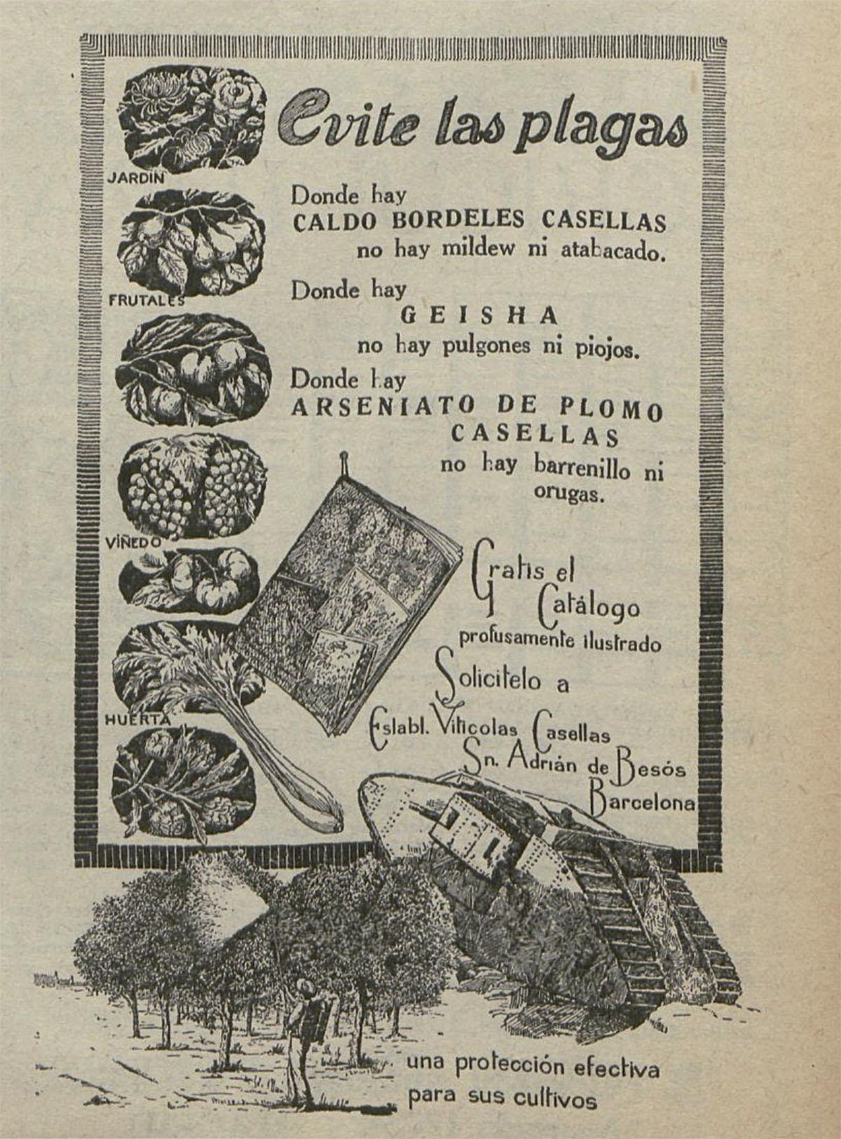 Anuncio de plaguicidas de la primera mitad del siglo XX
